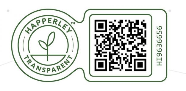 Happerley qr code showing the provenance and traceability of our ingredients.