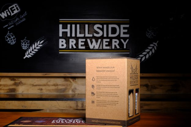 4x Hillside Brewery Beer bottle presentation pack with a glass, a great present for any beer lover (side 1)