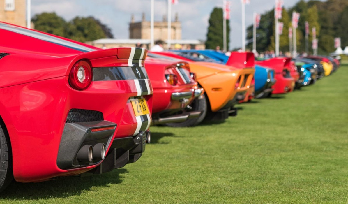 Supercar and car enthusiast breakfast meet. Photo of supercars bumpers.
