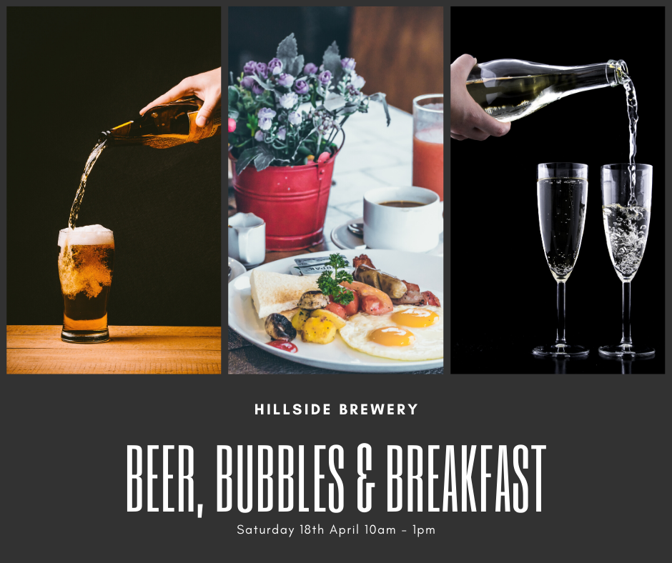 Beer, bubbles and breakfast. A Full English breakfast with all of the trimmings to start your weekend off properly.