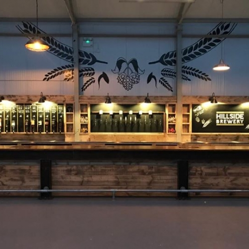 Hillside brewery bar area in our corporate event venue