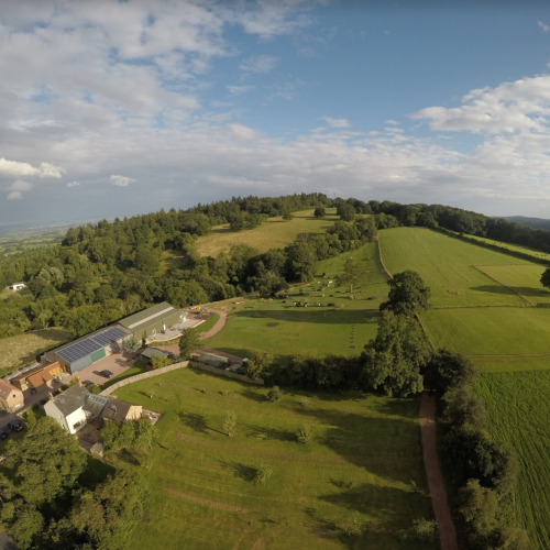 Hillside Brewery drone birds eye view, you can see Gloucestershire and towards the Cotswolds.