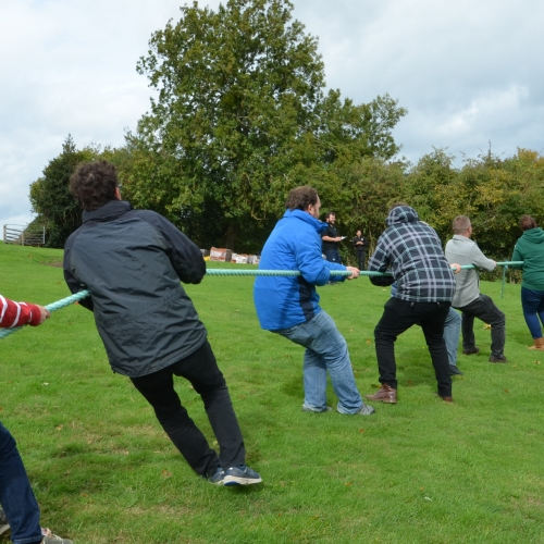 Tug of war outside at Hillside Brewery, a great competitive group activity.